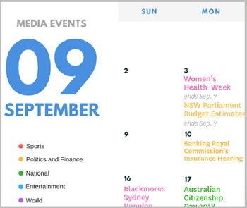September Media Events Calendar